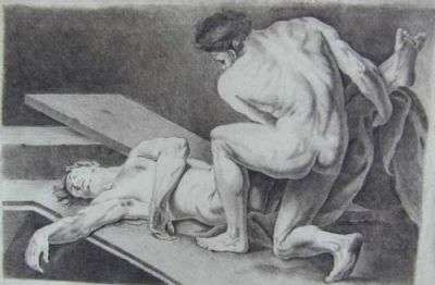 2 Male Nudes by Drawings