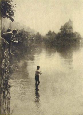 Boys Fishing by a Castle by W. Guygan