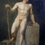 Academic Male Nude Oil by Anonymous