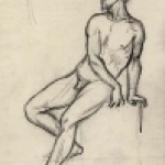 Seated Male Nude by Aime Millet