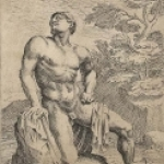 Male Nude Kneeling by Anonymous